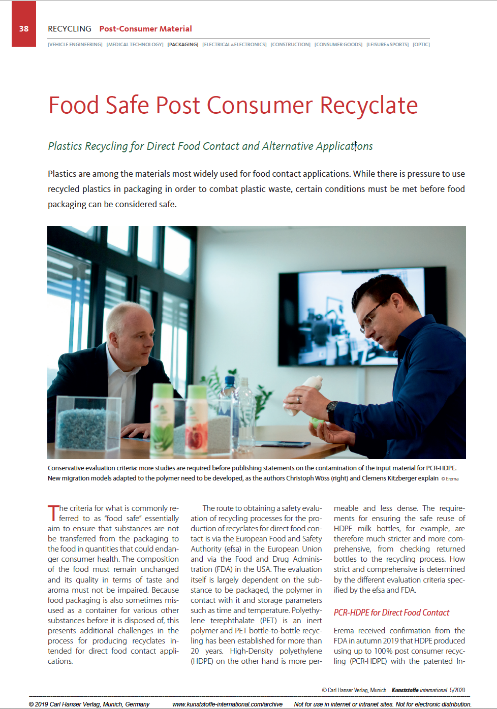 Kunststoffe International - Food Safe Post Consumer Recycling