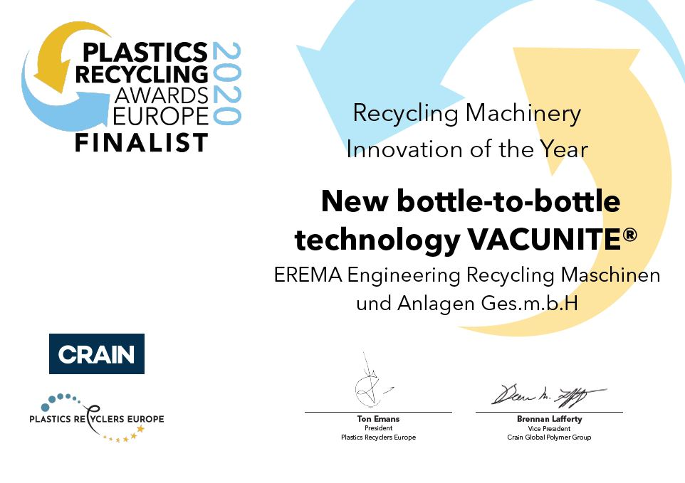 EREMA Recognized Again for Innovative Recycling Technology